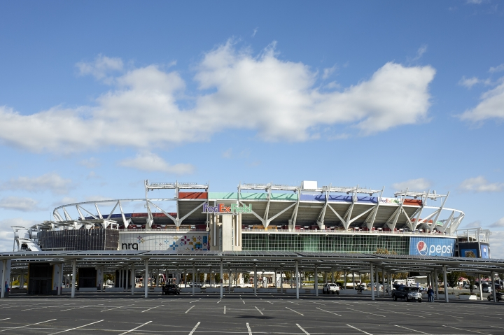 This Oct. 21, 2018 photo shows a general view of FedEx Field in Landover, Md. FedEx Field is a concrete relic of stadiums past with a clock ticking on its status as an NFL building. The Washington Redskins' training camp home away from home is only six years old and yet it appears to be on borrowed time. (AP Photo/Mark Tenally, file)