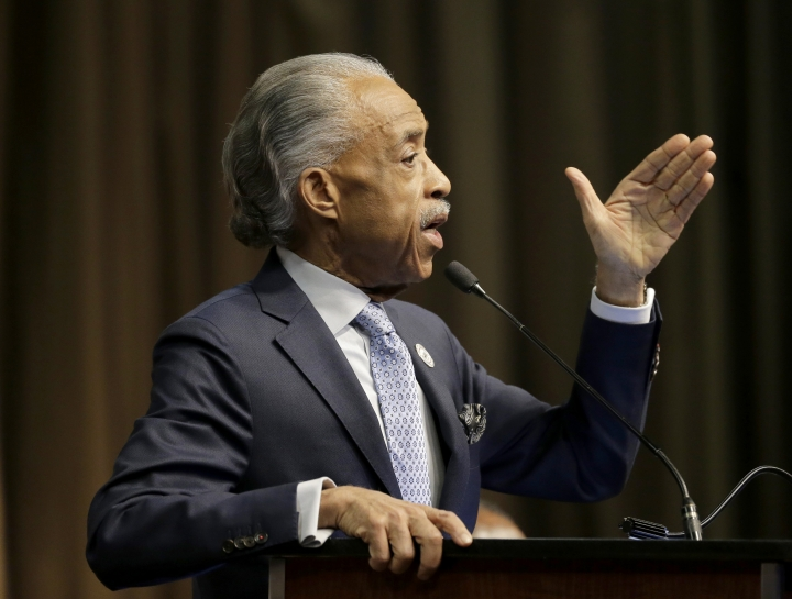 FILE - In this April 3, 2019 file photo, Rev. Al Sharpton speaks during the National Action Network Convention in New York. After a weekend of attacks on Rep. Elijah Cummings, D-Md., the son of former sharecroppers who rose to become the powerful chairman of the House Oversight and Reform Committee, Trump expanded his attacks Monday to include a prominent Cummings defender, the Rev. Al Sharpton, who was traveling to Baltimore to hold a press conference in condemnation of the president.(AP Photo/Seth Wenig)