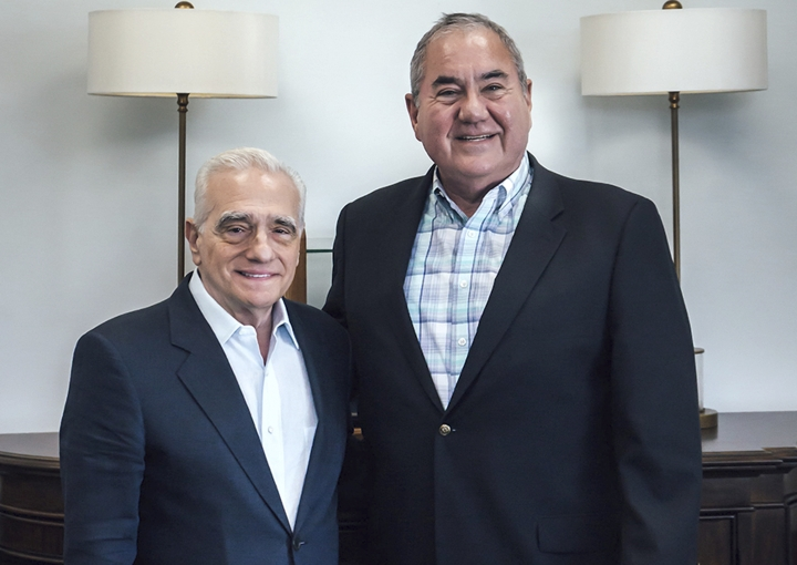 "In this Friday, July 26, 2019 photo provided by the Osage News, film director Martin Scorsese, left, meets with Osage Nation Principal Chief Geoffrey Standing Bear in Oklahoma. Scorsese is directing an upcoming adaptation of ""Killers of the Flower Moon,"" by David Grann, about the 1920s slayings of wealthy Osage tribal members after the discovery of oil on their land. (Cody Hammer/Osage News via AP)"