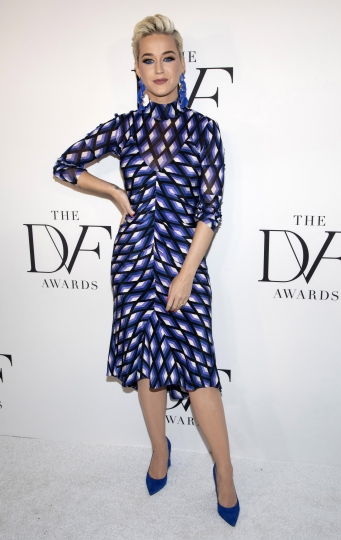 """FILE - This April 11, 2019 file photo shows Katy Perry at the 10th annual DVF Awards at the Brooklyn Museum in New York. A jury has found that Perry's 2013 hit """"Dark Horse,"""" copied a 2009 Christian rap song. The nine-member federal jury in Los Angeles returned the unanimous verdict Monday, July 29, 2019. (Photo by Andy Kropa/Invision/AP, File)"""