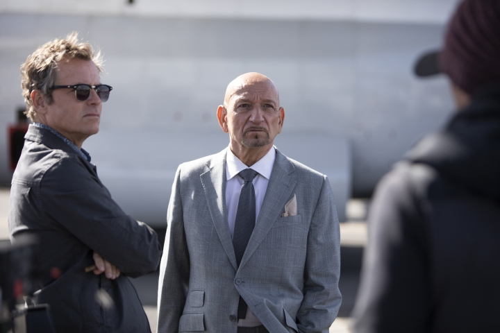 """This image released by Netflix shows Greg Kinnear, left, and Ben Kingsley in a scene from """"The Red Sea Diving Resort."""" (Marcos Cruz/Netflix via AP)"""