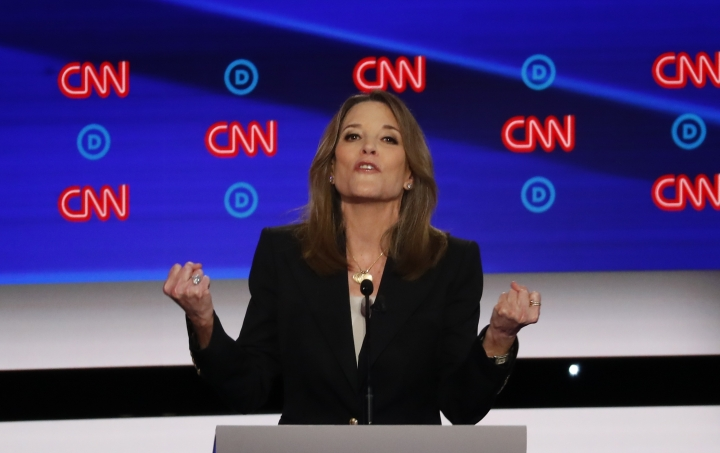 Marianne Williamson participates in the first of two Democratic presidential primary debates hosted by CNN Tuesday, July 30, 2019, in the Fox Theatre in Detroit. (AP Photo/Paul Sancya)