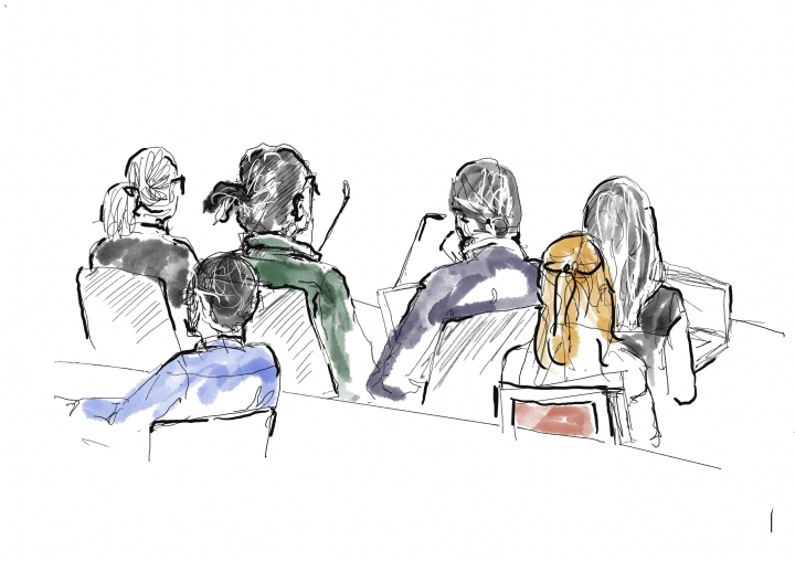 ASAP Rocky, in green shirt, second left, and to the right his defence lawyer Slobodan Jovicic, sit at the district court in Stockholm, Thursday Aug. 1, 2019. American rapper A$AP Rocky pleaded not guilty to assault as his trial in Sweden opened Tuesday, a month after a street fight that landed him in jail and became a topic of U.S.-Swedish diplomacy. (Court Illustration by Anna-Lena Lindqvist/TT via AP)