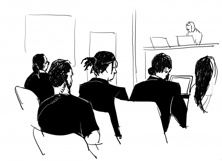 A$AP Rocky, third left, and to the right his defence lawyer Slobodan Jovicic in the district court in Stockholm, Friday Aug. 2, 2019, the third day of A$AP Rocky's trial. American rapper A$AP Rocky testified Thursday at his assault trial that he did everything possible to avoid a confrontation with two men he said were persistently following his entourage in Stockholm, but one of those men picked a fight with one of his bodyguards. (Court Illustration by Anna Harvard/TT via AP)