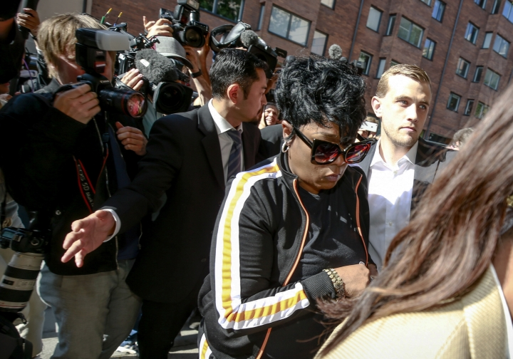 Renee Black, mother of ASAP Rocky arrives at the district court in Stockholm, Friday Aug. 2, 2019, the third day of A$AP Rocky's trial. American rapper A$AP Rocky testified Thursday at his assault trial that he did everything possible to avoid a confrontation with two men he said were persistently following his entourage in Stockholm, but one of those men picked a fight with one of his bodyguards. (Fredrik Persson/TT via AP)
