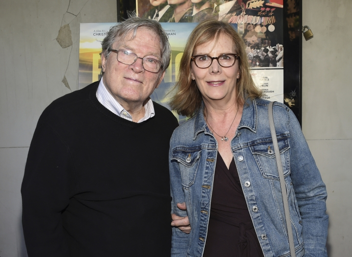 "FILE - In this June 14, 2018 file photo, filmmakers D.A. Pennebaker, left, and Chris Hegedus attend a special screening of ""Eating Animals"" at the IFC Center in New York. Oscar-winning documentary maker D.A. Pennebaker has died at the age of 94. Frazer Pennebaker said in an email his father died Thursday, Aug. 1, 2019, at his Long Island home from natural causes. (Photo by Evan Agostini/Invision/AP, File)"