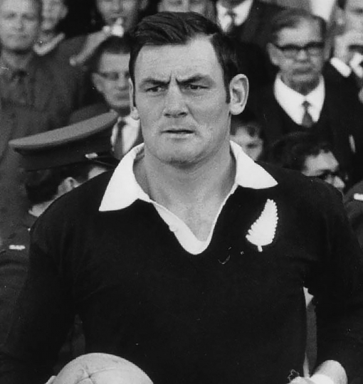 "In this undated photo, New Zealand All Black Brian Lochore runs onto the field against South Africa. Lochore, who captained the ""greatest"" All Blacks team of 1967 and went on to coach New Zealand to the inaugural Rugby World Cup title in 1987, has died. He was 78.(NZ Herald via AP)"