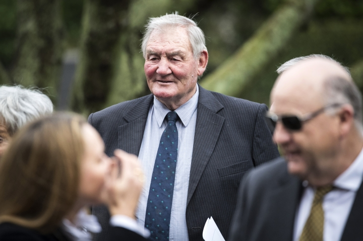 "In this Aug. 7, 2017 photo, former All Black captain Sir Brian Lochore attends the funeral of Sir John Graham in Auckland, New Zealand. Lochore, who captained the ""greatest"" All Blacks team of 1967 and went on to coach New Zealand to the inaugural Rugby World Cup title in 1987, has died. He was 78. ( Jason Oxenham/NZ Herald via AP)"