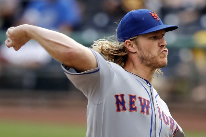 New York Mets starting pitcher Noah Syndergaard delivers during the sixth inning of a baseball game against the Pittsburgh Pirates in Pittsburgh, Sunday, Aug. 4, 2019. (AP Photo/Gene J. Puskar)