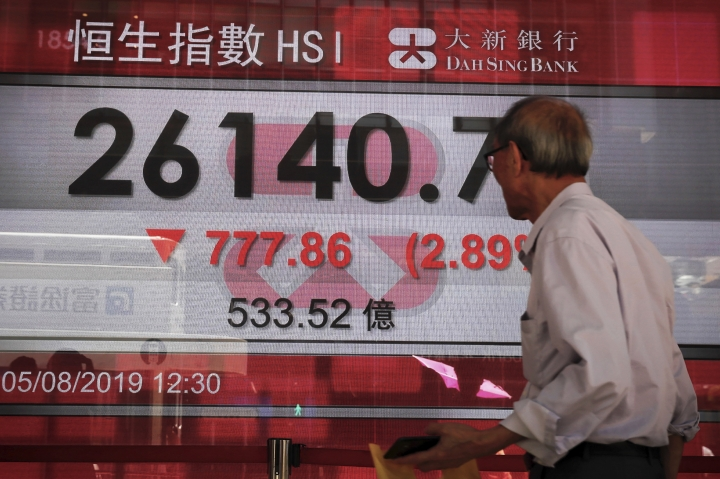 An elderly man looks at an electronic board showing Hong Kong composite index outside a bank in Hong Kong, Monday, Aug. 5, 2019. Asian stock markets fell for a third day Monday after China allowed its yuan to sink to its lowest level this year following U.S. President Donald Trump's latest tariff threat. (AP Photo/Kin Cheung)