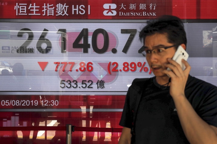 A man uses his smartphone walks by an electronic board showing Hong Kong composite index outside a bank in Hong Kong, Monday, Aug. 5, 2019. Asian stock markets fell for a third day Monday after China allowed its yuan to sink to its lowest level this year following U.S. President Donald Trump's latest tariff threat. (AP Photo/Kin Cheung)