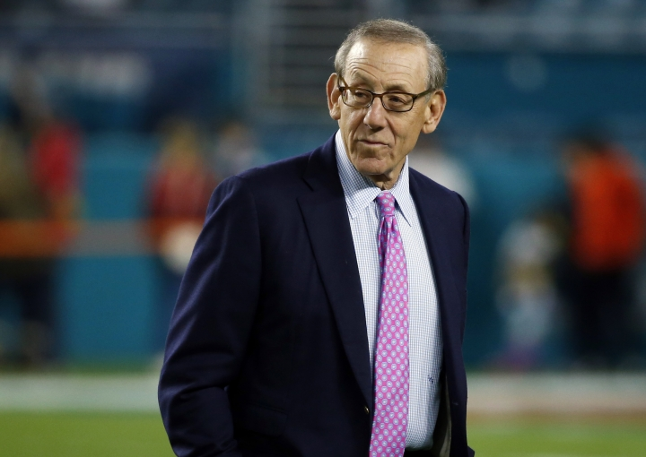 FILE - In this Dec. 11, 2017, file photo, Miami Dolphins owner Stephen M. Ross watches his team before an NFL football game against the New England Patriots in Miami Gardens, Fla. Ross is defending his support of longtime friend Donald Trump after being criticized about it by one of his players. (AP Photo/Wilfredo Lee, File)