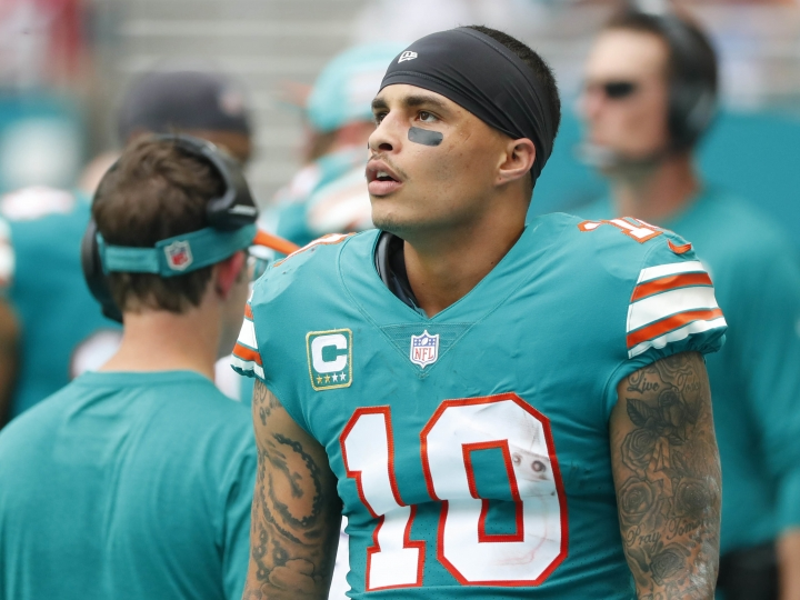 FILE - In this Dec. 9, 2018, file photo, Miami Dolphins wide receiver Kenny Stills (10) stands along the sideline during the first half of the team's NFL football game against the New England Patriots in Miami Gardens, Fla. Dolphins owner Stephen Ross is defending his support of longtime friend Donald Trump after being criticized about it by Stills. (AP Photo/Wilfredo Lee, File)