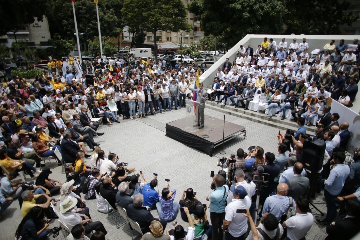 Opposition leader and self-proclaimed interim president of Venezuela Juan Guaido speaks during a protest asking for the freedom of opposition lawmaker Juan Requesens, in Caracas, Venezuela, Wednesday, Aug. 7, 2019. Requesens has spent a year in prison and is accused in an assassination attempt on President Nicolas Maduro. (AP Photo/Ariana Cubillos)