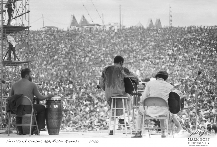 This August, 1969 photo shows Richie Havens as he performs during Woodstock in Bethel, N.Y. The photo is only one of hundreds made by photographer Mark Goff who, at the time, worked for an underground newspaper in Milwaukee, Wis. Some were published, but the negatives were filed away at his Milwaukee home and barely mentioned as Goff raised two daughters, changed careers and, last November, died of cancer. Dozens of Goff's Woodstock shots are being displayed 50 years later. (Mark Goff Photography, Leah Demarco/Allison Goff via AP)