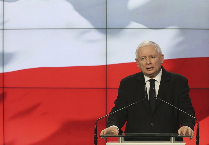 Jaroslaw Kaczynski, the head of Poland's ruling party, speaks at a news conference where the speaker of the parliament resigns in Warsaw, Poland, on Thursday Aug. 8, 2019. Kuchcinski's resignation was prompted by public anger over his and his family's frequent use of government planes. Kuchcinski and Kaczynski insisted that the speaker had broken no law and did nothing wrong. (AP Photo/Czarek Sokolowski)