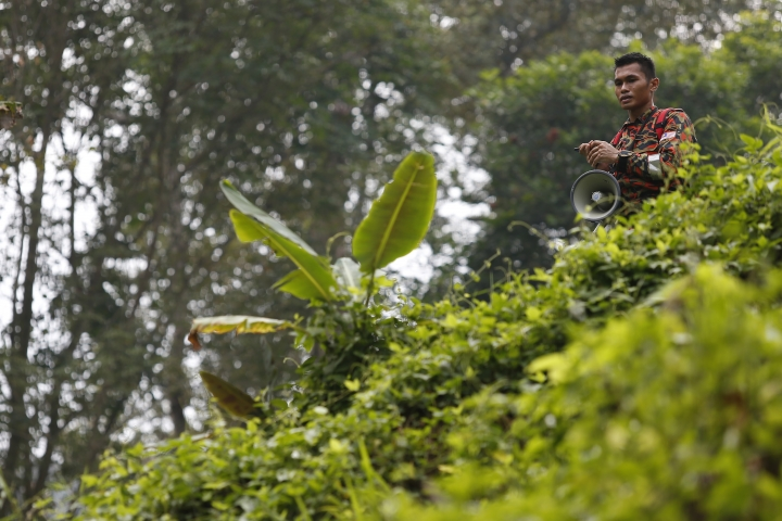 A member of a rescue team plays a recording of the voice of the mother of a missing British girl as he conducts a search and rescue operation at a forest in Seremban, Negeri Sembilan, Malaysia, Friday, Aug. 9, 2019. Police in Malaysia said on Thursday that they are using voice recordings conducted with the family of the 15-year old missing girl from London, in order to find her. (AP Photo/Lai Seng Sin)