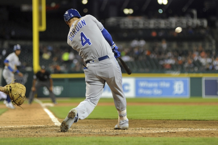 Kansas City Royals' Alex Gordon connects for a three-run home run against the Detroit Tigers during the sixth inning of a baseball game, Thursday, Aug. 8, 2019, in Detroit. (AP Photo/Jose Juarez)