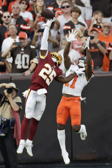 Washington Redskins cornerback Jimmy Moreland (25) breaks up a pass intended for Cleveland Browns wide receiver Antonio Callaway (11) during the first half of an NFL preseason football game Thursday, Aug. 8, 2019, in Cleveland. (AP Photo/Ron Schwane)