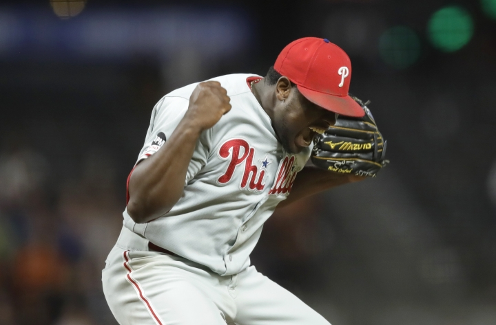 Philadelphia Phillies' Hector Neris reacts as the final out is made against the San Francisco Giants in a baseball game Friday, Aug. 9, 2019, in San Francisco. (AP Photo/Ben Margot)