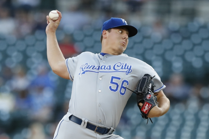 Kansas City Royals starting pitcher Brad Keller throws during the first inning of a baseball game against the Detroit Tigers, Friday, Aug. 9, 2019, in Detroit. (AP Photo/Carlos Osorio)