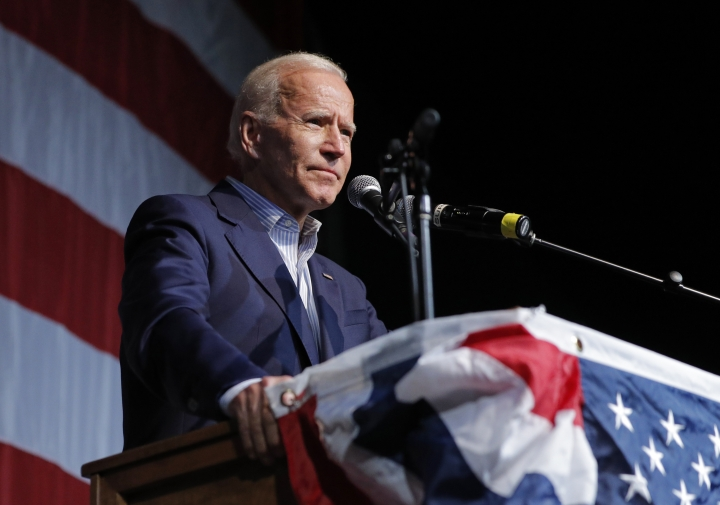 Former Vice President and Democratic presidential candidate Joe Biden speaks at the Iowa Democratic Wing Ding at the Surf Ballroom, Friday, Aug. 9, 2019, in Clear Lake, Iowa. (AP Photo/John Locher)