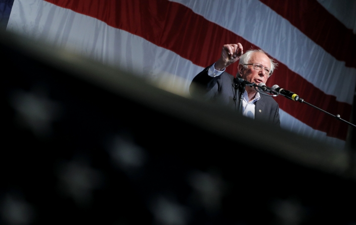 Democratic presidential candidate Sen. Bernie Sanders, I-Vt., speaks at the Iowa Democratic Wing Ding at the Surf Ballroom, Friday, Aug. 9, 2019, in Clear Lake, Iowa. (AP Photo/John Locher)