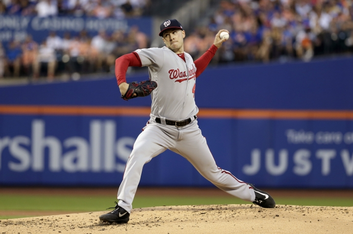 Washington Nationals starting pitcher Patrick Corbin throws during the second inning of a baseball game against the New York Mets, Saturday, Aug. 10, 2019, in New York. (AP Photo/Seth Wenig)
