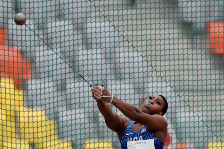 Gwendolyn Berry ofUnited States competes in the women's hammer throw final during the athletics at the Pan American Games in Lima, Peru, Saturday, Aug. 10, 2019. Berry won the gold medal. (AP Photo/Rebecca Blackwell)