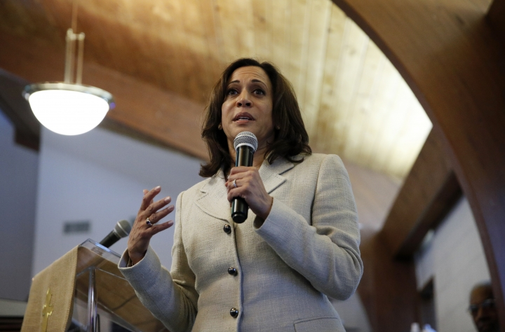 Democratic presidential candidate Sen. Kamala Harris, D-Calif., speaks at a Corinthian Baptist Church service, Sunday, Aug. 11, 2019, in Des Moines, Iowa. (AP Photo/John Locher)