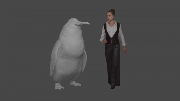 """This illustration provided by the Canterbury Museum, shows the approximate height of a giant penguin, a """"crossvallia waiparensis"""" next to a human being. Scientists in New Zealand say they've found fossilized bones from an extinct monster penguin that was about the size of a human and swam the oceans some 60 million years ago. (Canterbury Museum via AP)"""