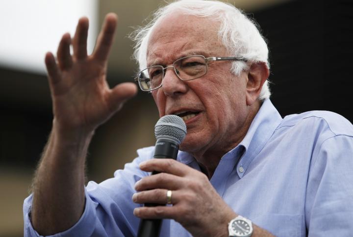 Democratic presidential candidate Sen. Bernie Sanders, I-Vt., speaks at the Iowa State Fair, Sunday, Aug. 11, 2019, in Des Moines, Iowa. (AP Photo/John Locher)