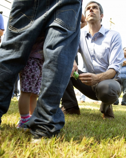 Democratic presidential candidate Beto O'Rourke speaks with supporters, Friday, Aug. 16, 2019 in Canton, Miss. Democrat Beto O'Rourke on Friday became the first presidential candidate to visit one of the Mississippi towns where federal immigration agents recently raided chicken processing plants and arrested nearly 700 people. (Sarah Warnock/The Clarion-Ledger via AP)