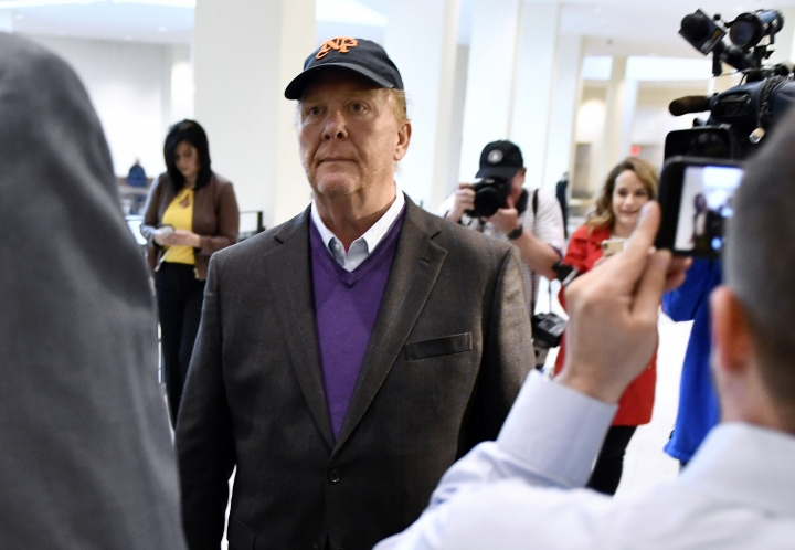 FILE - In this Friday, May 24, 2019, file photo, Mario Batali arrives for arraignment, at municipal court in Boston. Batali, whose career crumbled amid sexual misconduct allegations, no longer owns a stake in Eataly, the Italian marketplaces he once heavily promoted. Chris Giglio, a spokesman for Eataly USA, told The Associated Press on Friday, Aug. 16, the company has purchased Batali's minority interest, formally ending the relationship. (AP Photo/Josh Reynolds, File)