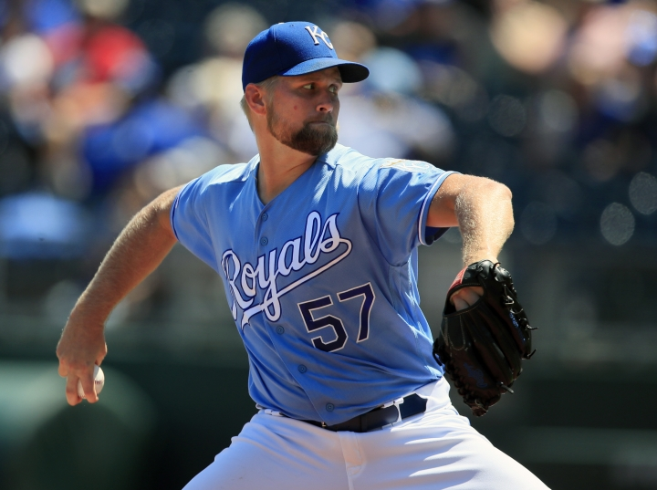 Kansas City Royals starting pitcher Glenn Sparkman delivers to a New York Mets batter during the first inning of a baseball game at Kauffman Stadium in Kansas City, Mo., Sunday, Aug. 18, 2019. (AP Photo/Orlin Wagner)