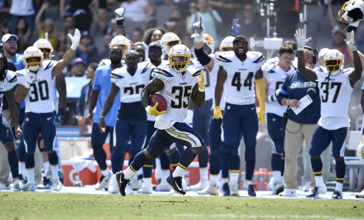 Los Angeles Chargers running back Troymaine Pope (35) returns a punt for a touchdown against the New Orleans Saints during the first half of a preseason NFL football game Sunday, Aug. 18, 2019, in Carson, Calif. (AP Photo/Kelvin Kuo )