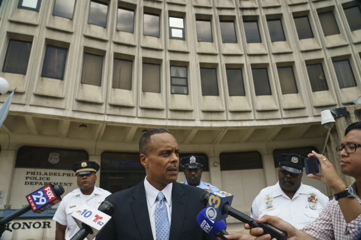 Former Philadelphia Police Commissioner Richard Ross speaks with the media outside Police Administration Building at 8th and Race in Philadelphia, Wednesday, Aug. 21, 2019. Ross abruptly resigned Tuesday, a day after a woman in the department claimed in a lawsuit that he allegedly ignored her claim of another officer's sexual harassment. (Jessica Griffin/The Philadelphia Inquirer via AP)