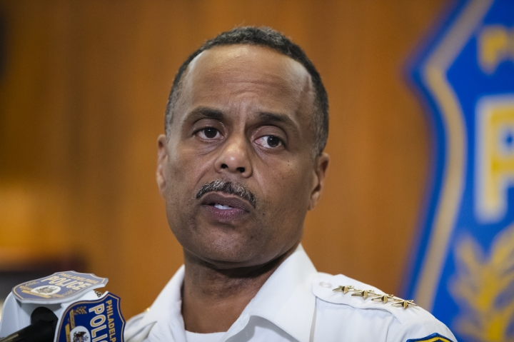 FILE - In this July 18, 2019 file photo Philadelphia Police Commissioner Richard Ross speaks during a news conference in Philadelphia. The mayor of Philadelphia says on Tuesday, Aug. 20, 2019, that Ross is resigning over new allegations of sexual harassment and racial and gender discrimination against others in the department. Mayor Jim Kenney says that Richard Ross has been a terrific asset to the police department and the city as a whole and that he's disappointed to lose him. (AP Photo/Matt Rourke, File)
