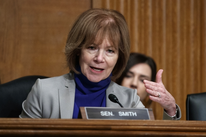 "FILE - In this March 5, 2019 file photo Sen. Tina Smith, D-Minn., speaks during a Senate Committee on Health, Education, Labor, and Pensions hearing on Capitol Hill in Washington. Smith will face Republican Jason Lewis who jumped into Minnesota's Senate race Thursday, August 22, 2019 with a campaign video that attacked the state's freshman Rep. Ilhan Omar and the so-called ""resistance"" to President Donald Trump. Lewis seeks to tie Smith to Omar, who has become a frequent target of Trump. (AP Photo/Carolyn Kaster, file)"