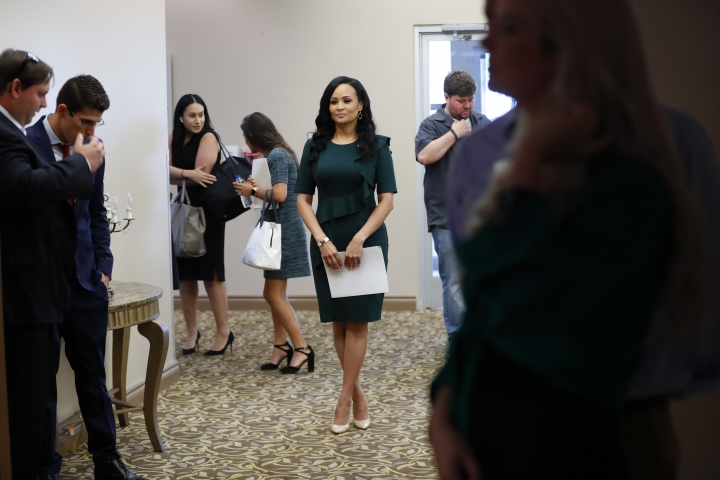 Katrina Pierson, Senior Advisor to Donald J. Trump for President, Inc. waits to speak during a training session for Women for Trump, An Evening to Empower, in Troy, Mich., Thursday, Aug. 22, 2019. President Donald Trump's campaign is rallying and training a corps of female defenders, mindful that Trump's shaky standing with women could sink his hopes of reelection next year. Female surrogates and supporters fanned out across important battlegrounds Thursday in a high-profile push to make the president's case on the economy and to train campaign volunteers. (AP Photo/Paul Sancya)
