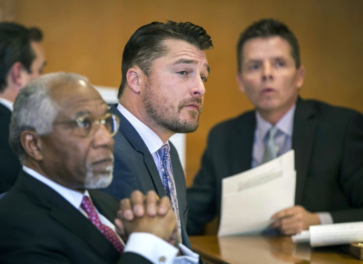 "FILE - In this Nov. 27, 2017, file photo, Iowa farmer and former TV reality show celebrity Chris Soules listens during a hearing in Buchanan County District Court in Independence, Iowa. Soules who appeared on ABC's ""The Bachelor"" has accepted a suspended two-year prison sentence for his role in a 2017 Iowa crash that killed another man. Court records show that Soules entered written consent documents on Friday, Aug. 23, 2019, agreeing to the suspended sentence and supervised release, and also agreed to pay a $625 fine. A judge must still sign off on the sentencing. (Rodney White/The Des Moines Register via AP, Pool, File)"