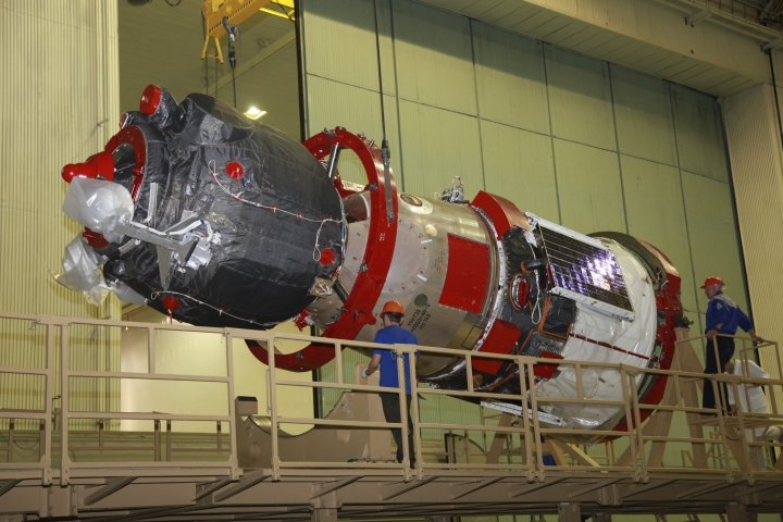 In this photo taken on Sunday, July 28, 2019, and distributed by Roscosmos Space Agency Press Service, a Soyuz MS-14 capsule preparing to be launched Thursday Aug. 22, 2019, by a new Soyuz 2.1a rocket from the launch pad at Russia' at Russia's space facility in Baikonur, Kazakhstan. A Russian space capsule carrying a humanoid robot has failed to dock as planned with the International Space Station. A statement from the Russian space agency Roscosmos said the failure to dock on Saturday was because of problems in the docking system. (Roscosmos Space Agency Press Service photo via AP)