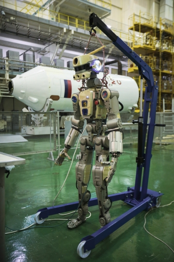 In this photo taken on Friday, July 26, 2019, and distributed by Roscosmos Space Agency Press Service, the Fedor robot is displayed before being loaded into a Soyuz capsule that was launched Thursday Aug. 22, 2019, from the launch pad at Russia's space facility in Baikonur, Kazakhstan. A Russian space capsule carrying a humanoid robot has failed to dock as planned with the International Space Station. A statement from the Russian space agency Roscosmos said the failure to dock on Saturday Aug. 24, 2019, was because of problems in the docking system, but didn't give details. (Roscosmos Space Agency Press Service photo via AP)