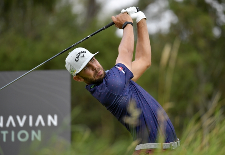 Erik van Rooyen of South Africa in action on the 7th hole during the PGA European Tour golf tournament Scandinavian Invitation at Hills Golf & Sports Club in Molndal, Sweden, Saturday Aug. 24, 2019. (Anders Wiklund/TT via AP)