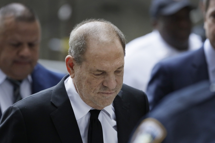 Harvey Weinstein arrives in court, Monday, Aug. 26, 2019, in New York. Weinstein's lawyers want the trial moved from New York City to Long Island or upstate New York - part of the last-minute wrangling that includes efforts by prosecutors to bolster their case with testimony from actress Annabella Sciorra, who says Weinstein raped her in the 1990s. Weinstein has denied all accusations of non-consensual sex. (AP Photo/Mark Lennihan)