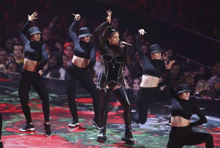 Rosalia performs a medley at the MTV Video Music Awards at the Prudential Center on Monday, Aug. 26, 2019, in Newark, N.J. (Photo by Matt Sayles/Invision/AP)