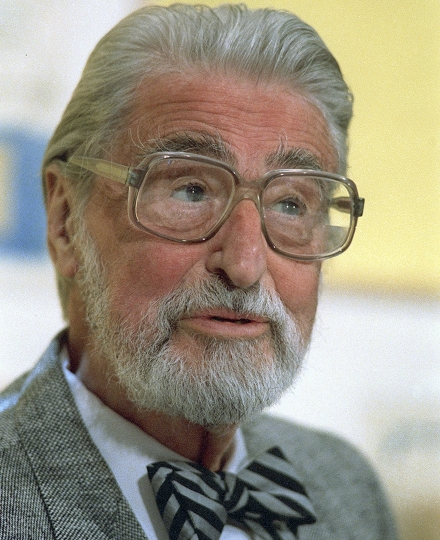 FILE - This April 3, 1987 file photo shows American author, artist and publisher Theodor Seuss Geisel, known as Dr. Seuss in Dallas, Texas. A touring immersive attraction tied to the work of the famous late author is scheduled debut in Toronto in October 2019, followed by visits to several cities in the United States. (AP Photo, File)