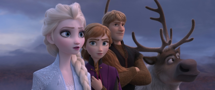 "This image released by Disney shows Elsa, voiced by Idina Menzel, from left, Anna, voiced by Kristen Bell, and Kristoff, voiced by Jonathan Groff in a scene from ""Frozen 2,"" in theaters on Nov. 22. (Disney via AP)"