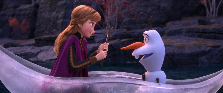 "This image released by Disney shows Anna, voiced by Kristen Bell, left, and Olaf, voiced by Josh Gad, in a scene from ""Frozen 2,"" in theaters on Nov. 22. (Disney via AP)"