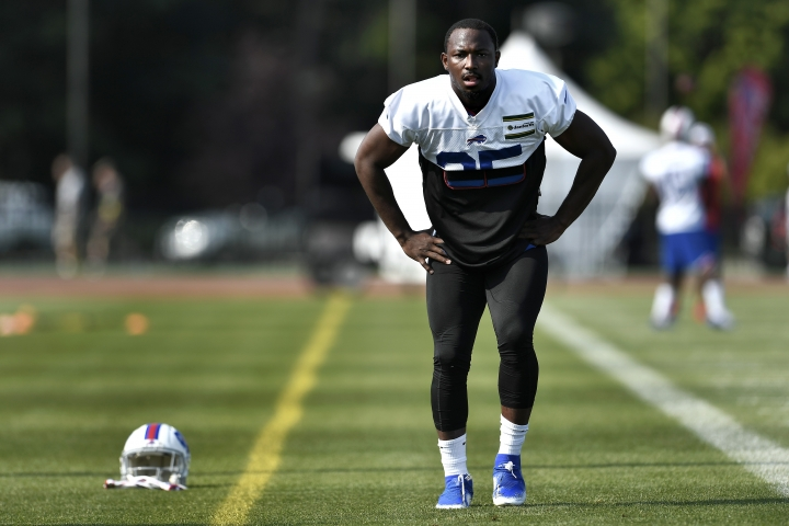 FILE - In this July 25, 2019 file photo, Buffalo Bills running back LeSean McCoy stretches during practice at the NFL football team's training camp in Pittsford, N.Y. A person with direct knowledge of the decision has confirmed to The Associated Press the Buffalo Bills have released veteran running back LeSean McCoy in a stunning move made as NFL teams set their 53-player rosters. The person spoke to The AP on the condition of anonymity on Saturday, Aug. 31, because the Bills have not announced the decision. ESPN.com first reported McCoy being cut. (AP Photo/Adrian Kraus, File)